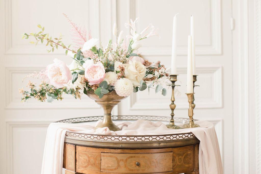 Centre de table romantique rose poudré