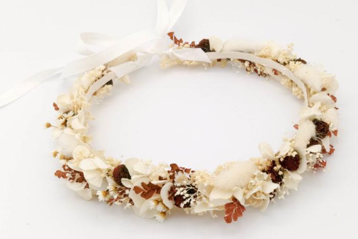 Miss Acacia - Couronne en fleurs séchées et stabilisées pour une mariée bohème
