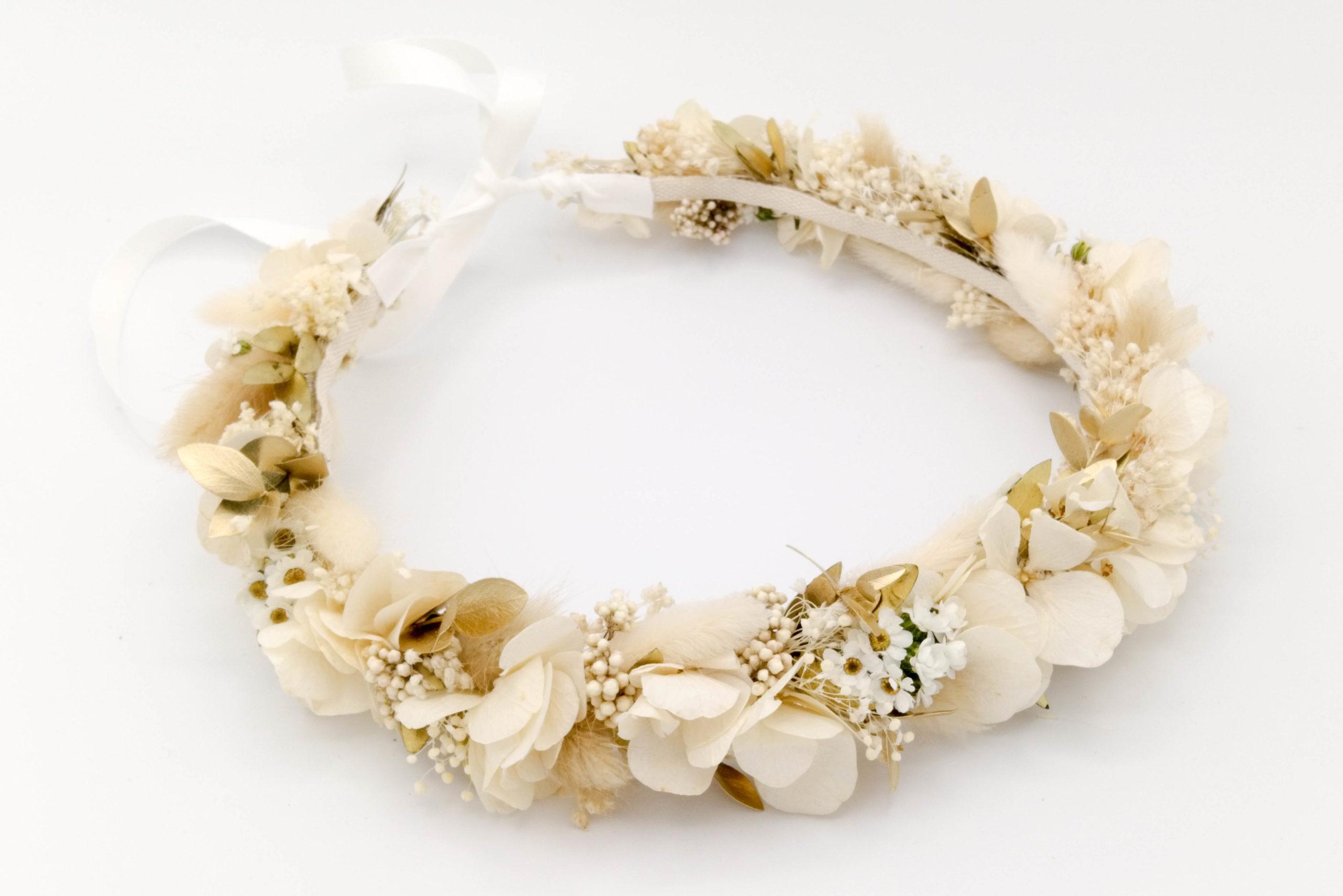 Miss Acacia - Couronne en fleurs séchées et stabilisées blanches et dorés