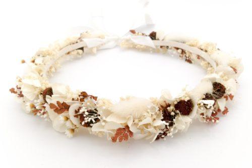 Miss Acacia - Couronne de fleurs séchées et stabilisées pour une mariée bohème