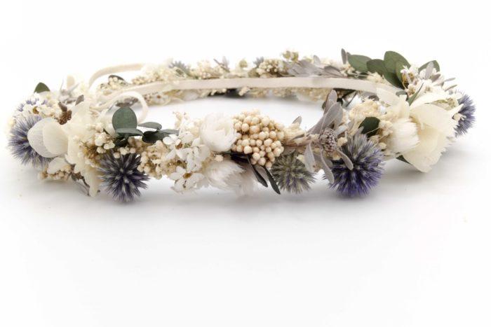 Miss Acacia - Couronne de fleurs séchées bleu et blanche