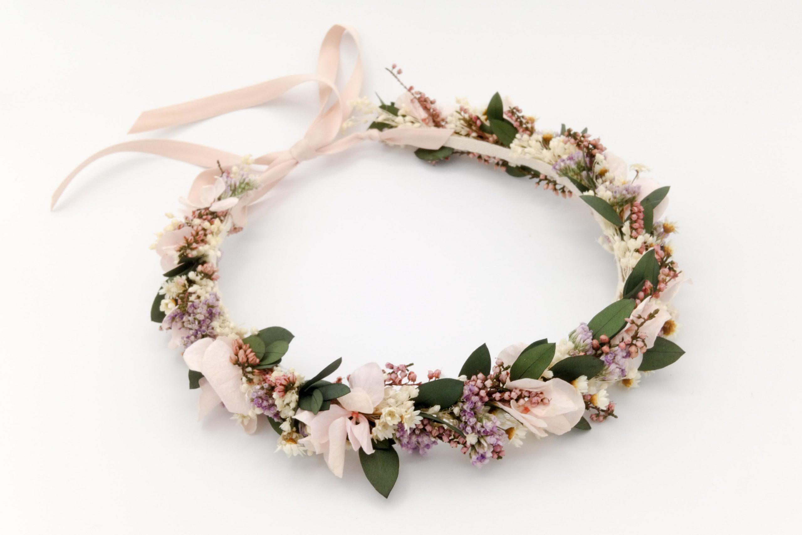 Fleuriste Miss Acacia - Couronne de fleurs séchées et stabilisées Rosée