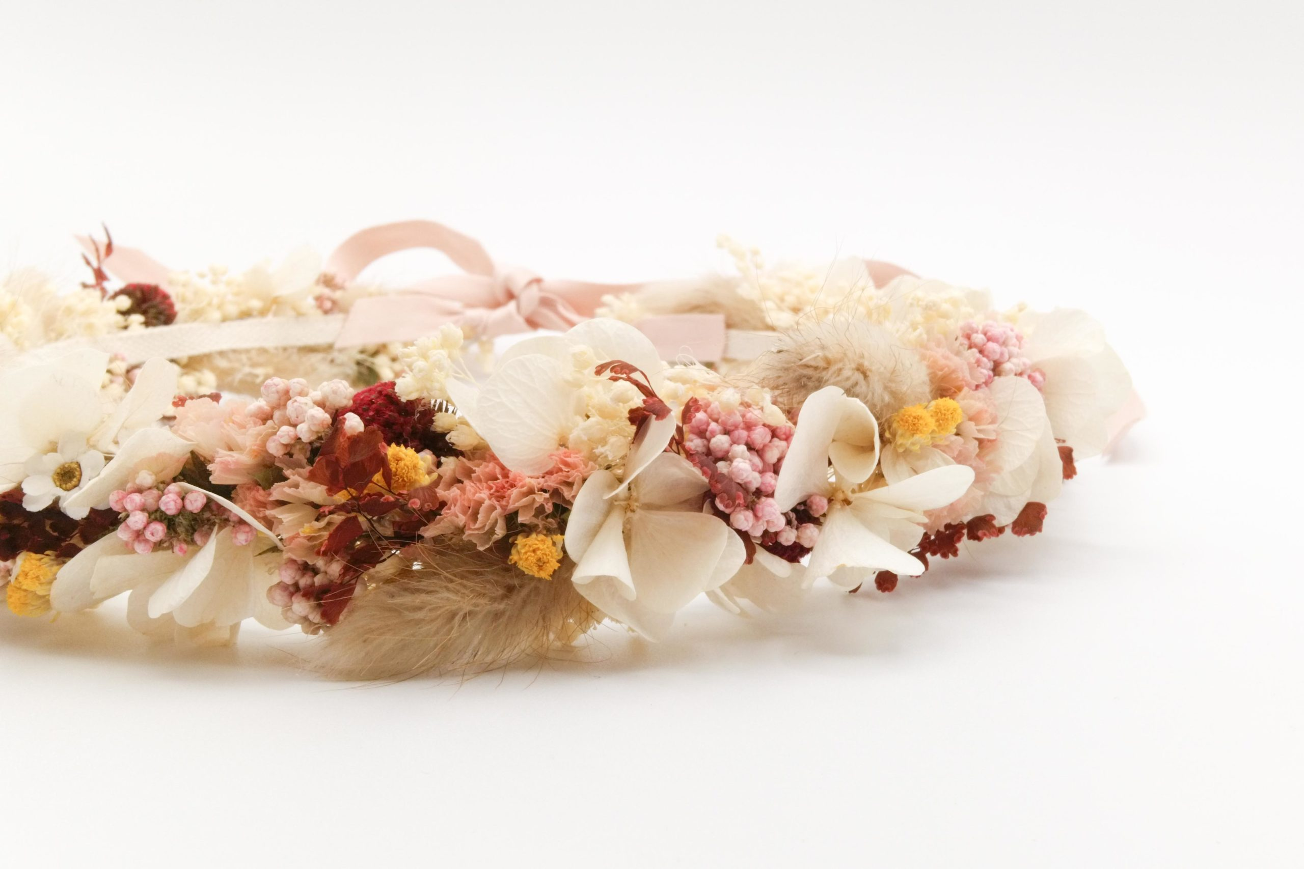 Miss Acacia - Couronne de fleurs séchées et stabilisées pour une mariée