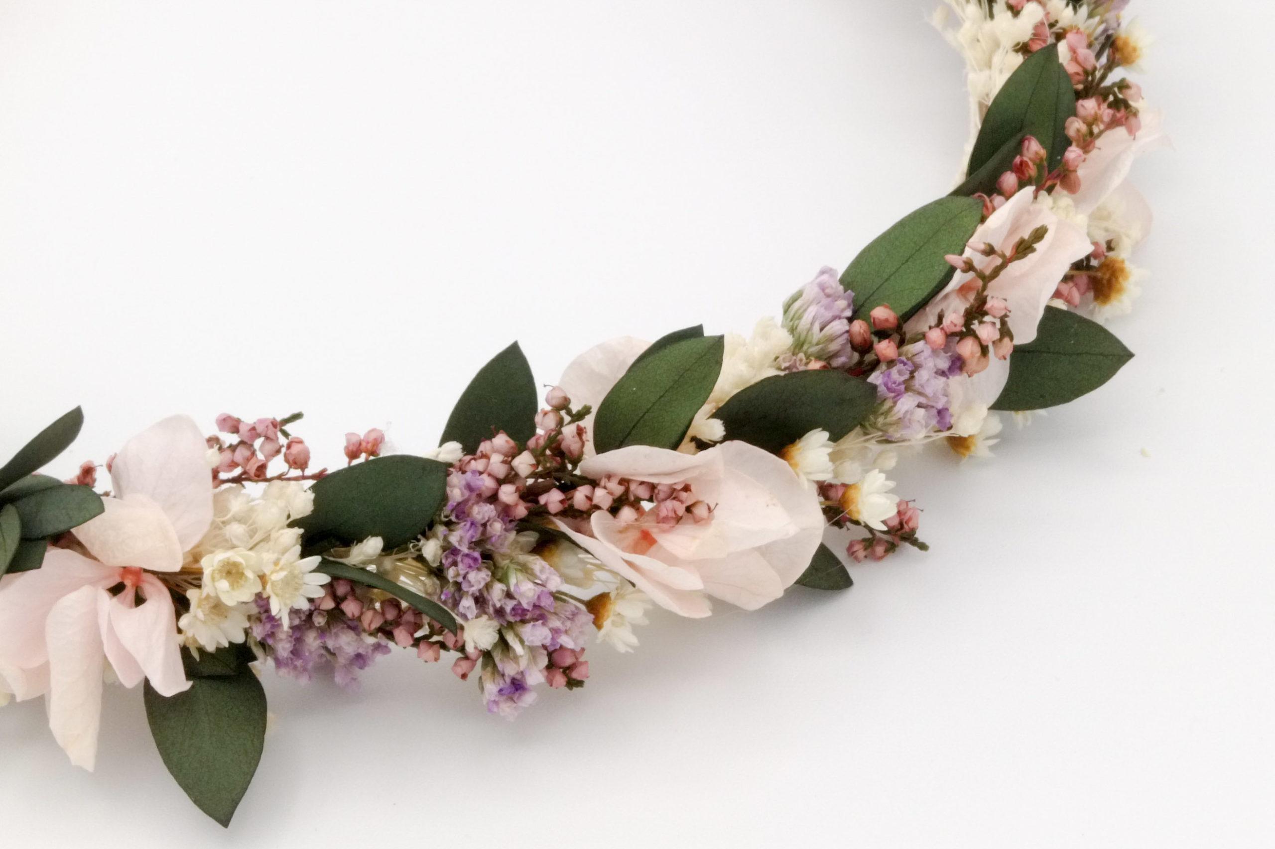 Miss Acacia - Couronne de fleurs stabilisées pour une mariée