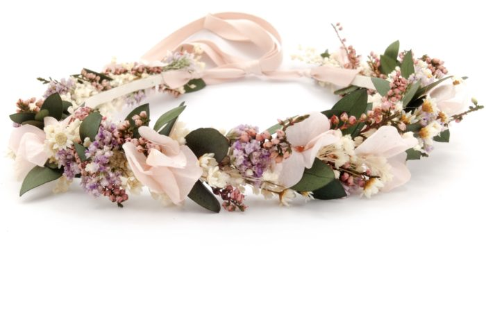 Miss Acacia - Couronne Rosée en fleur séchées et stabilisées pour mariage