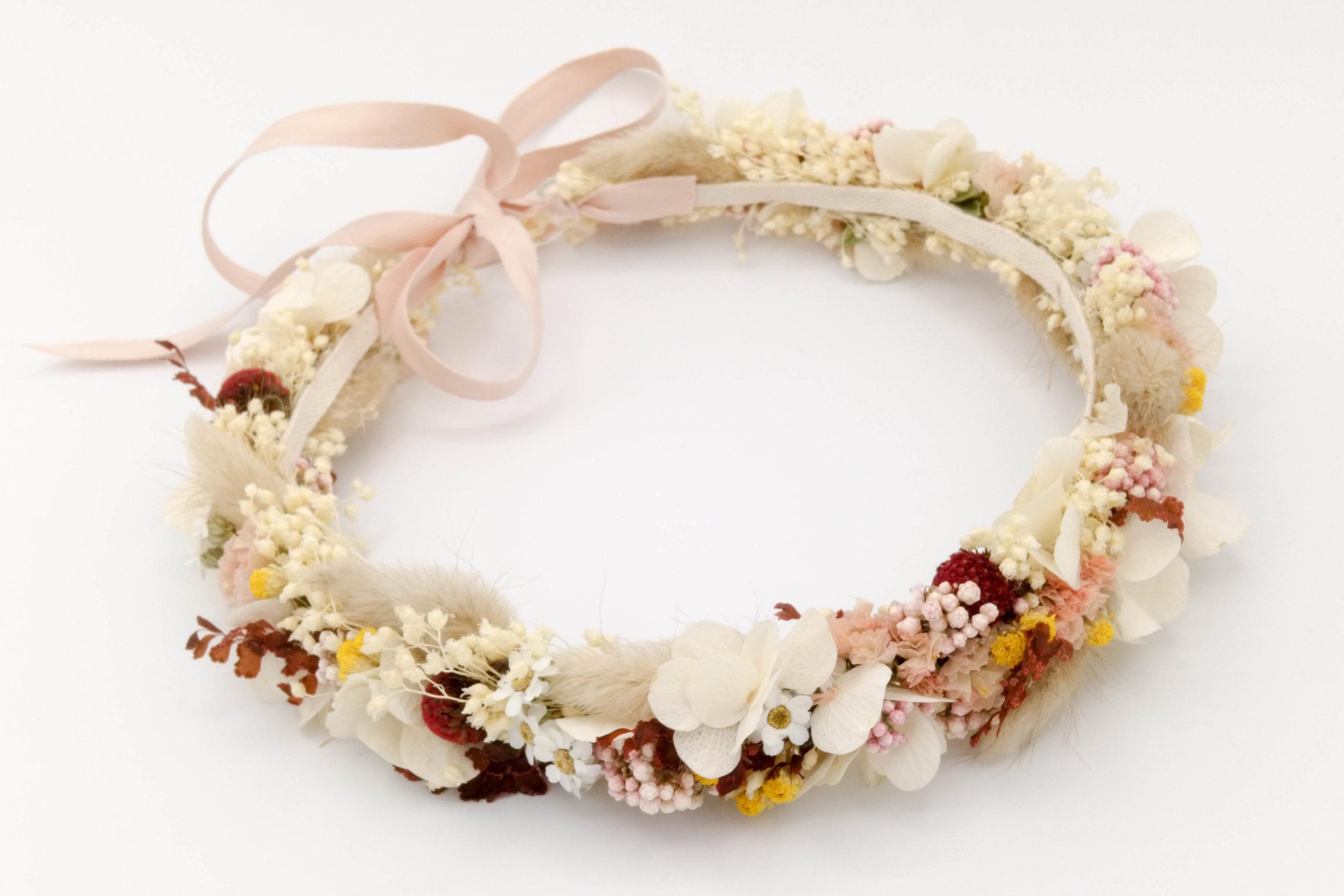 Miss Acacia - Couronne Liberty en fleurs séchées pour un mariage