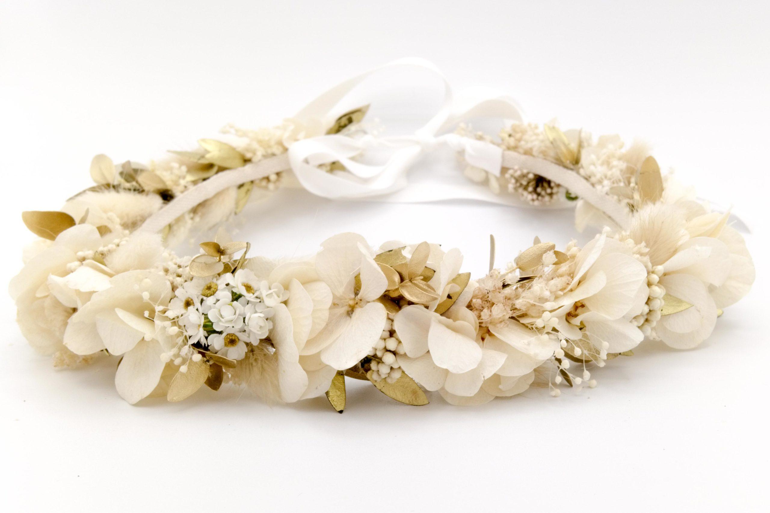 Miss Acacia - Couronne en fleurs stabilisées blanche et doré