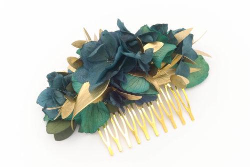 Miss Acacia - Peigne fleuri bleu et doré