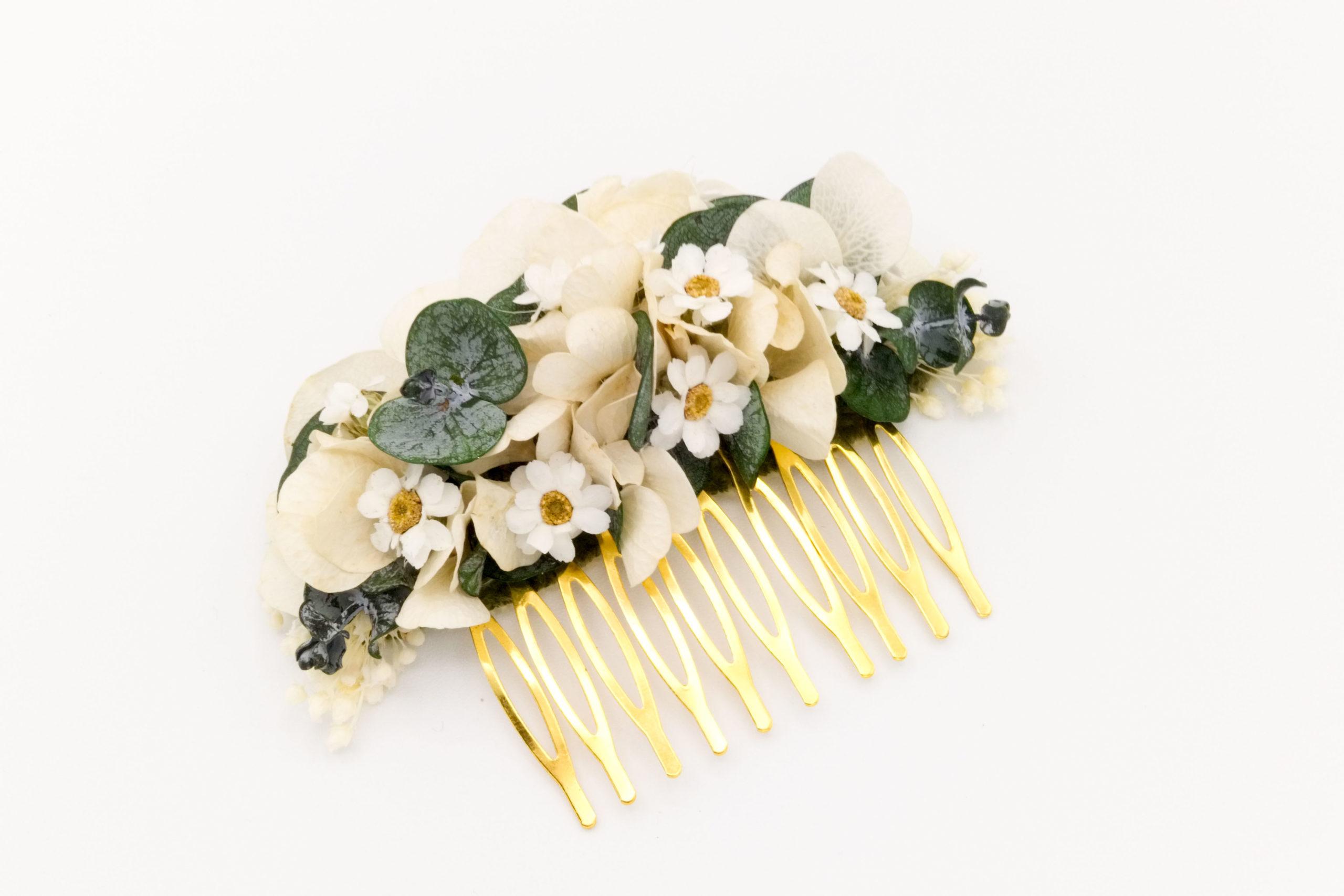 Fleuriste Miss Acacia - Peigne en fleurs stabilisées Daisy